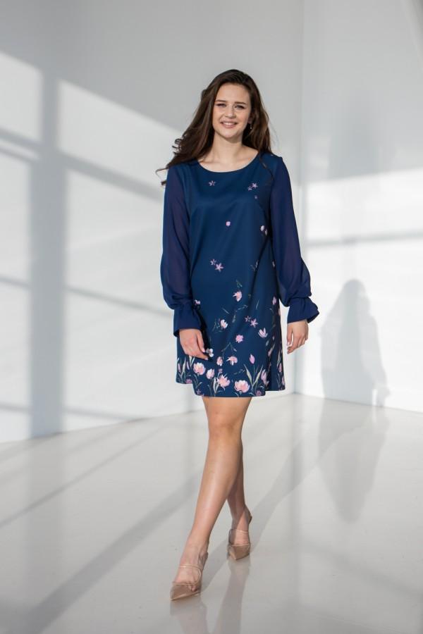 Платье 637-01 синее