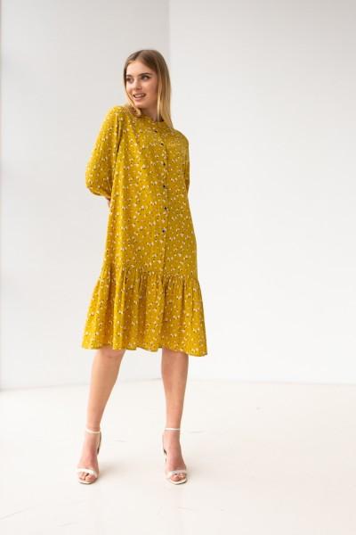 Плаття 660-01 жовте з квітами