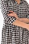 Платье 661-04 черное с белым