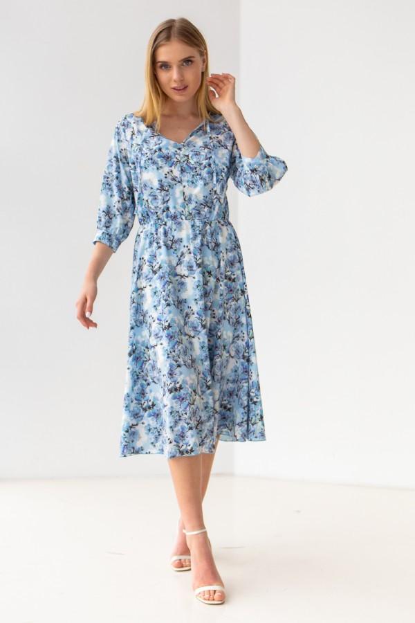Платье 671-08 голубое с цветами