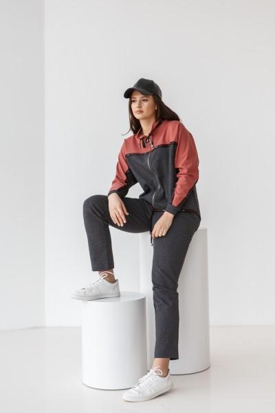 Спортивний костюм 687-05 пудра з сірим