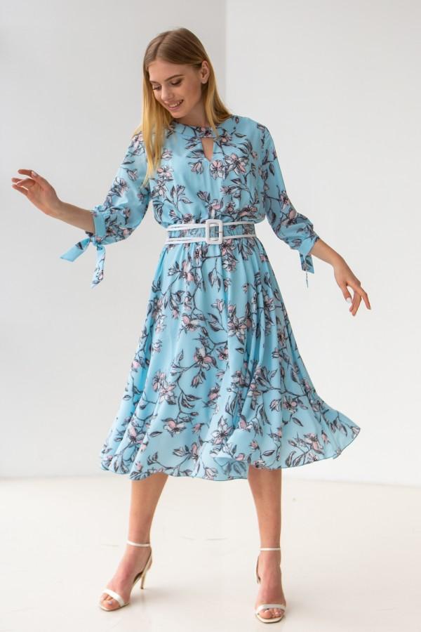 Платье 696-08 голубое крупные цветы