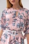 Платье 696-10 розовое крупные цветы