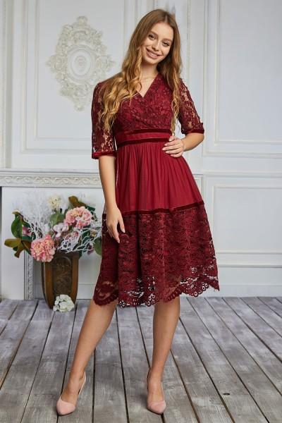 Платье 605-01 бордовое