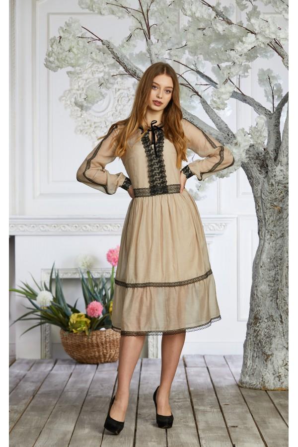 Платье 639/1-01 бежевое